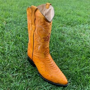 Mens Ostrich Leg Print Leather Boots Mango Color